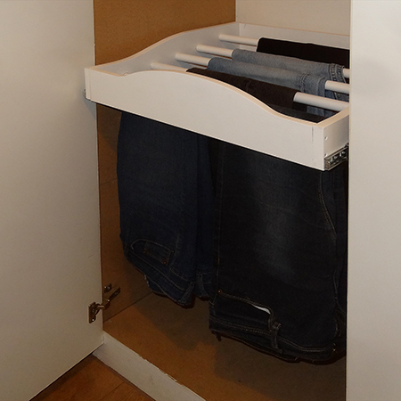 sliding trouser rack for built in cupboards or closets