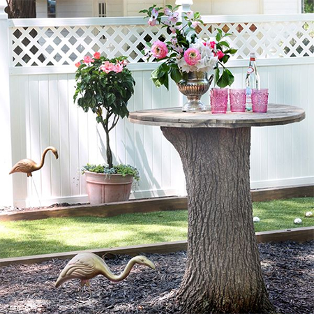 What to do with a tree stump garden table