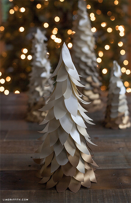 paper christmas trees festive holiday decorations