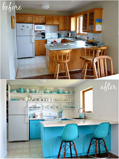 Boring traditional kitchen goes chic before and after
