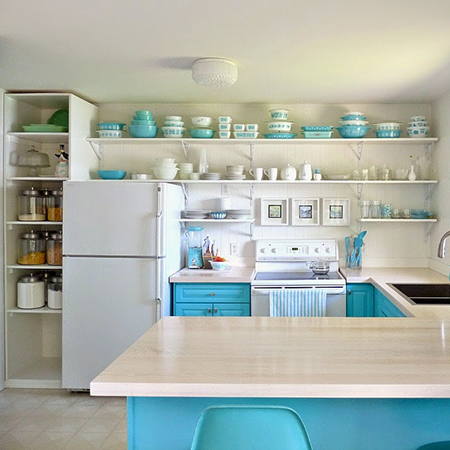 Boring traditional kitchen goes chic white and turquoise