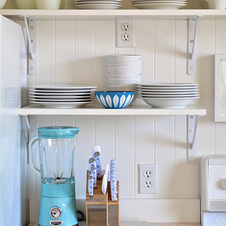 Boring traditional kitchen goes chic shelving open on brackets