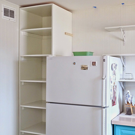 Boring traditional kitchen goes chic built in shelf unit pantry