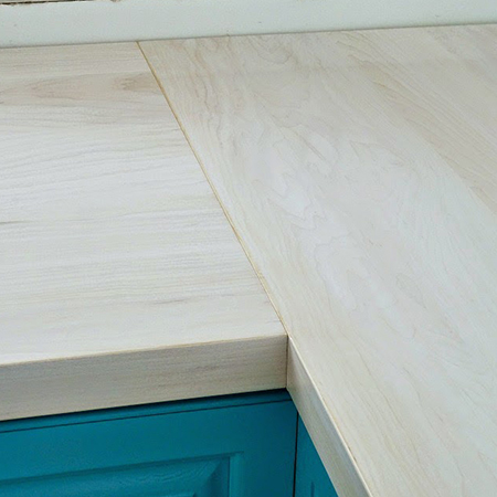 Boring traditional kitchen goes chic maple countertops whitewash finish