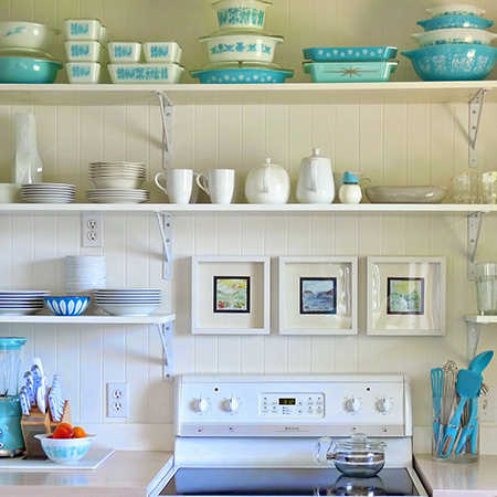 Boring traditional kitchen goes chic scandanavian white and turquoise