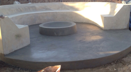 concrete fire pit and boma