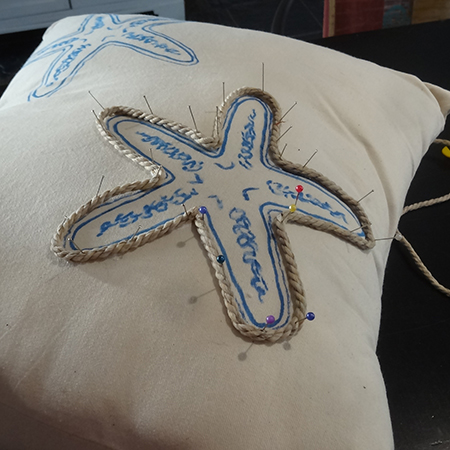 Making upholstered cushions for outdoor sofa rope border