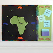 Rhino inspired clock and memo board
