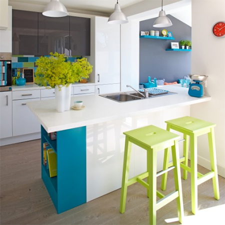 Family home that's filled with colour open plan kitchen