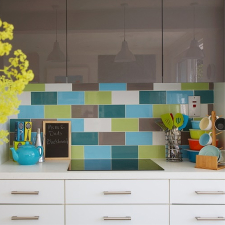 Family home that's filled with colour glass subway tile splashback