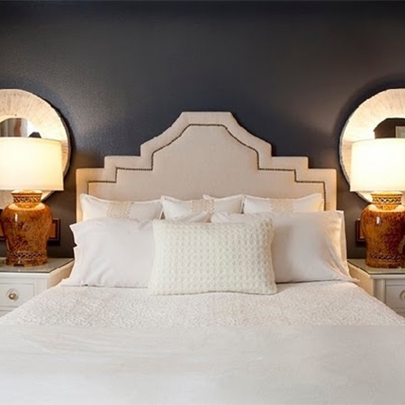 easy upholstered headboard ideas nailhead trim stepped design