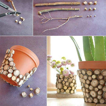 Add interest to plain indoor plastic pots by cutting thin and thick