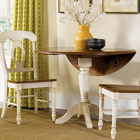 Make a round drop-leaf table with diy pedestal