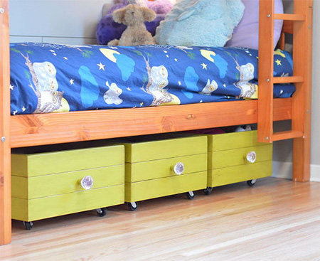 Wheeled storage drawers for child's bedroom