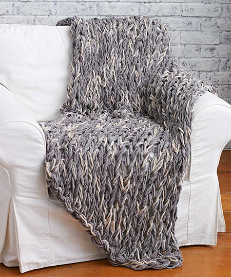 arm knit a cosy throw or blanket without knitting needles