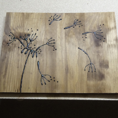Wood art with Woodoc gel stain and wood glue