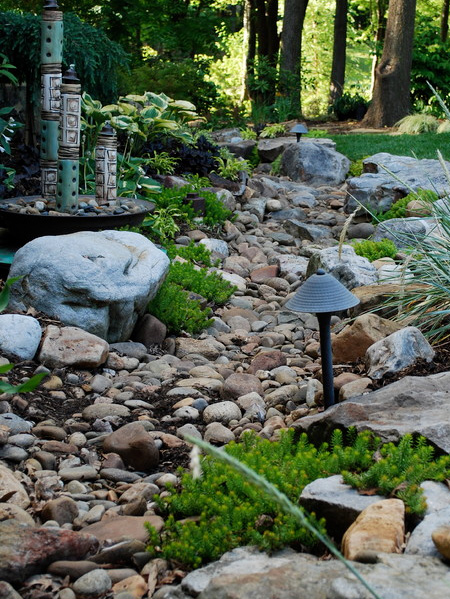 Ordinaire Pebble And Rock River Bed For Garden Drainage