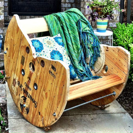 Cable spool chairs for garden or patio