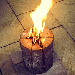 diy swedish fire log for winter potjie