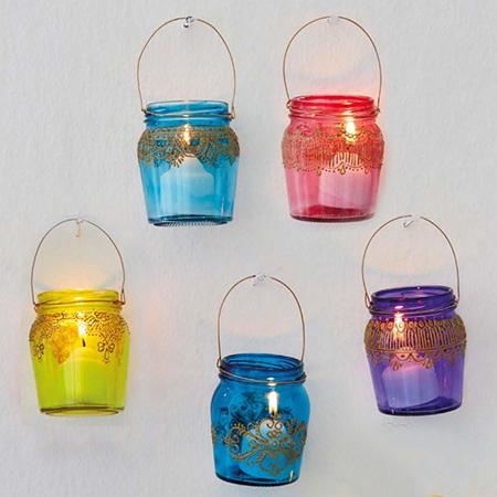 You can use glass stain to  recycle glass food jars into colourful containers.
