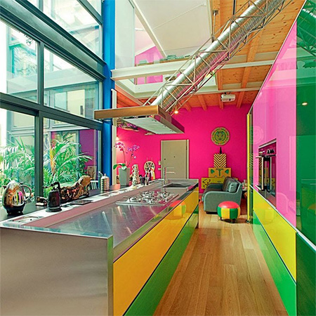 kitchen painted in fluorescent neon colours