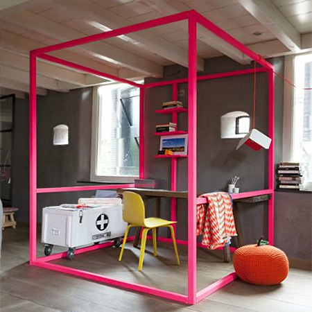 framed office in fluorescent neon pink