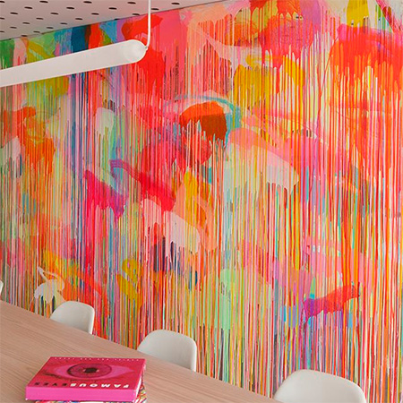 feature wall with fluorescent neon colours