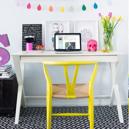 fluorescent neon yellow office chair
