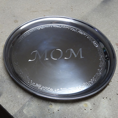 dremel fortiflex engrave stainless steel tray for mothers day gift
