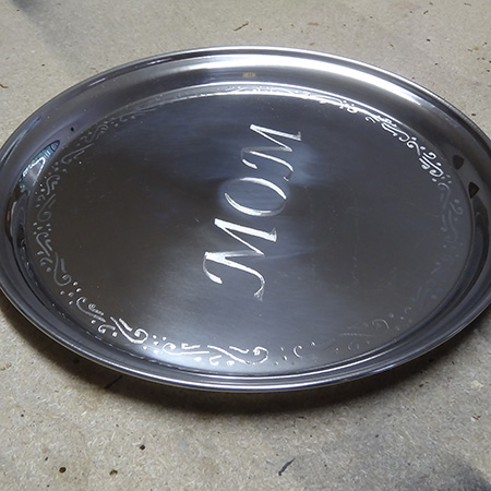 dremel fortiflex engrave stainless steel tray for mothers day gift ideas