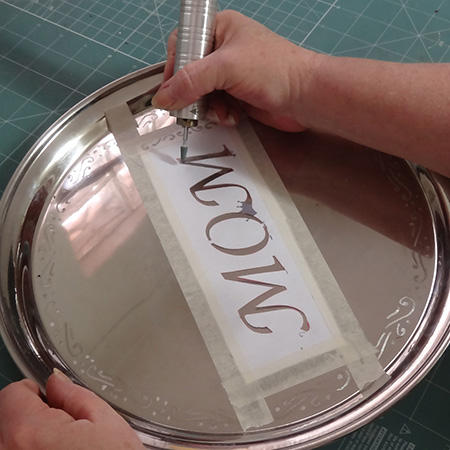 dremel fortiflex engrave stainless steel tray for mothers day gift  idea
