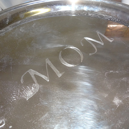 Engraved stainless steel platter for unique gift idea