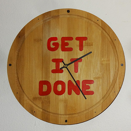 Turn a bamboo bread board or cutting block into a wall clock and be constantly reminded to 'get it done'