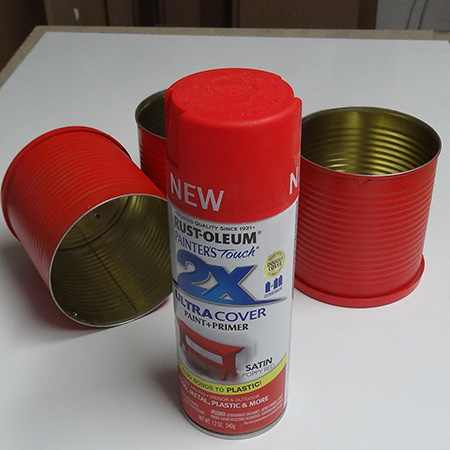 Recycled can plant holder sprayed with rustoleum 2x satin poppy red spray paint