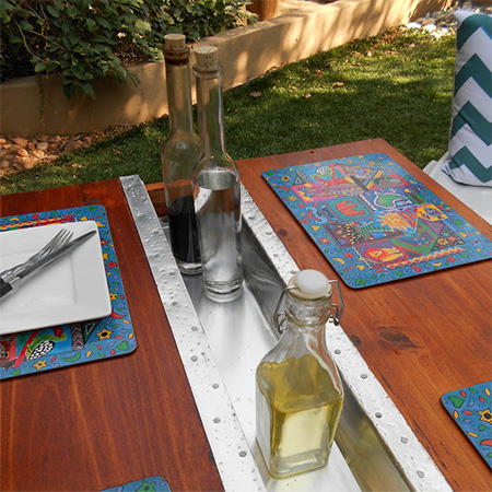 garden table with centre channel for sauces and condiments
