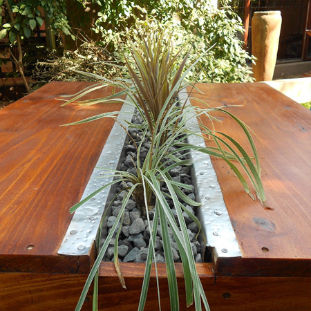 garden table with centre channel for herbs or plants