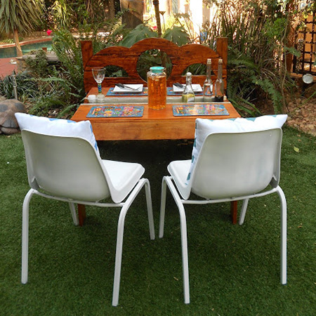garden table with centre channel
