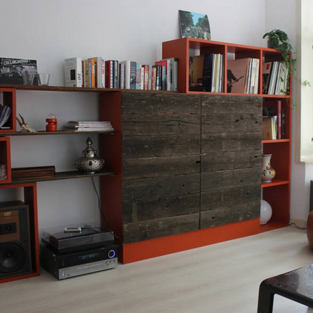 reclaimed timber wood tv console panelling ideas