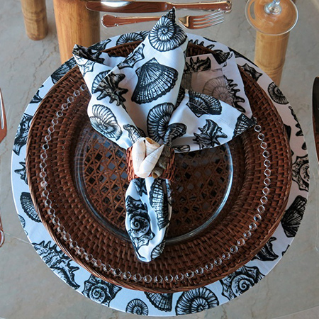 diy make coastal style fabric wrapped charger plates