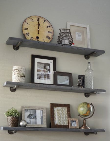 Easy shelf ideas that you can DIY with galvanised pipe brackets