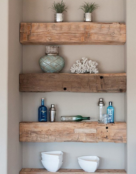 Easy chunky wood floating shelf ideas that you can DIY
