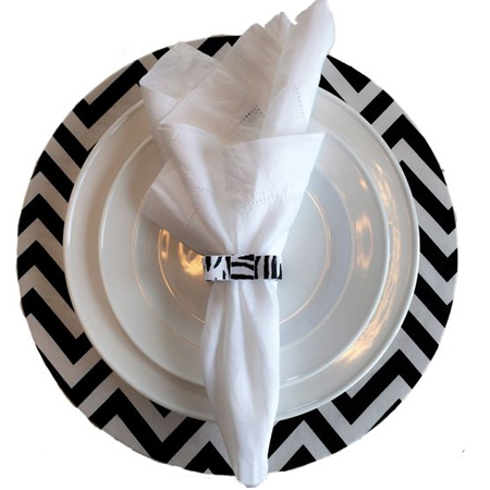 diy make chevron fabric wrapped charger plates