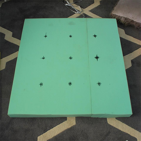 A good layout for this size of ottoman is 9 holes placed 230mm apart.