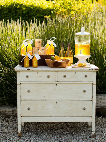 DIY outdoor bar ideas secondhand chest of drawers