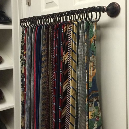 Tie Rack Pole Mounted On Back Of Closet Door For Space Saving Closet Ideas