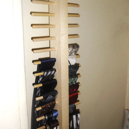 pine dowels for tie rack for space saving closet ideas