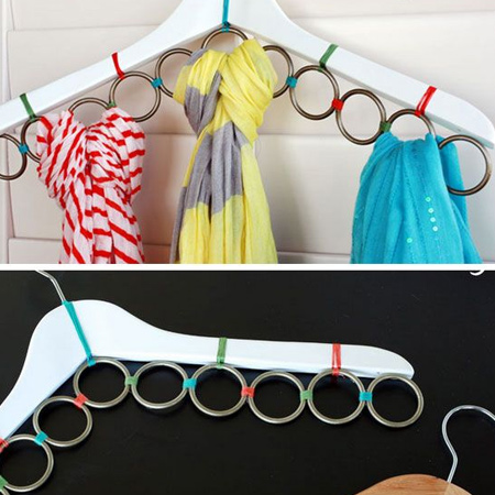 curtain rings for scarf rack for space saving closet ideas