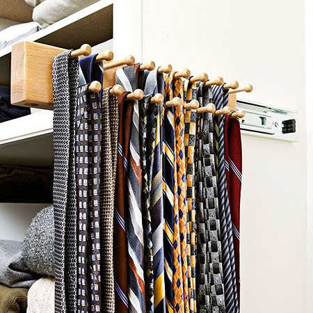 tie rack mounted on drawer runners for space saving closet ideas