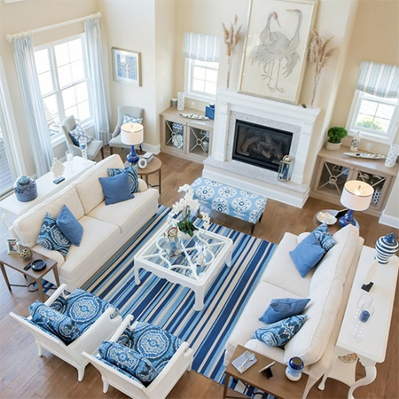 Home dzine home decor keep your home cool in summer in for Blue themed living room ideas
