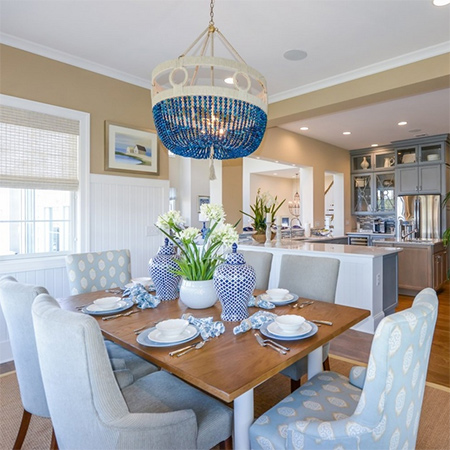 ideas decorating with blue for dining room